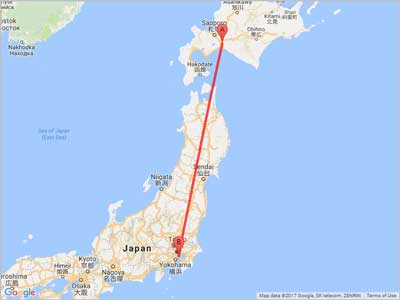 Air miles from Sapporo (CTS) to Tokyo (HND)