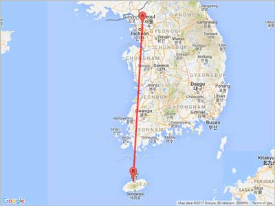 Air miles from Seoul (GMP) to Jeju (CJU)