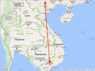 Air miles from Hanoi (HAN) to Ho Chi Minh City (SGN)