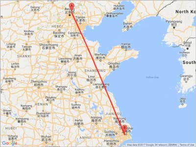 Air miles from Beijing (PEK) to Shanghai (SHA)